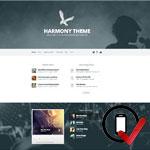 Harmony WordPress skabelonen er bygget til bands og musikere. Man kan afspille sange, håndtere events, uploade billeder og sælge merchandise.