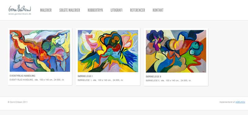 Gorm Eriksen hjemmeside lavet af ADELHOU