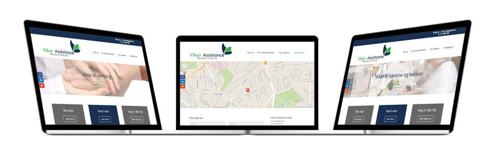 Vikar Assistance hjemmeside og visitkort