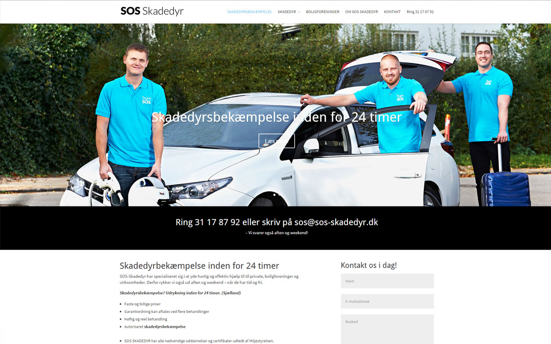 SOS-skadedyr.dk WordPress hjemmeside