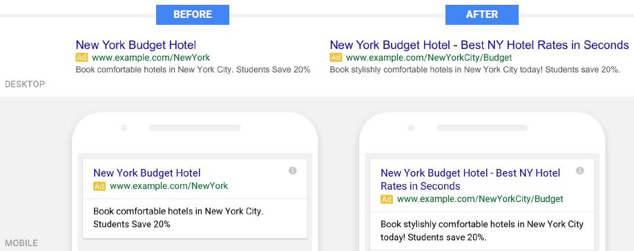 Google Adwords - udvidede tekst annoncer før efter - advanced text ads