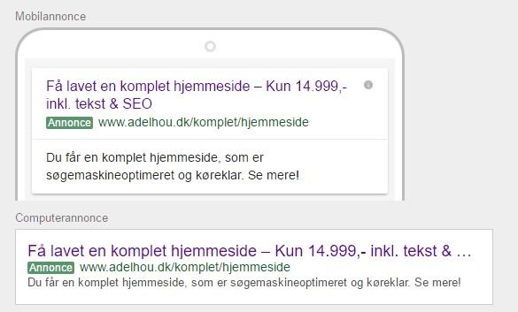 Google Adwords - udvidede tekstannoncer - extended text ads
