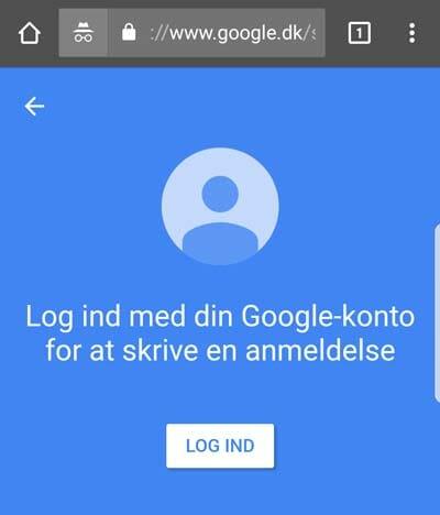 Log ind på Google for at skrive en anmelde